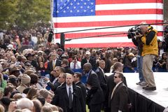Media covers US Senator Barack Obama Stock Photo