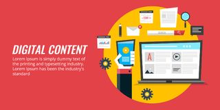 Media de Digital lançant sur le marché, promotion du contenu numérique, stratégie de contenu de Web Bannière plate de vecteur de  images stock