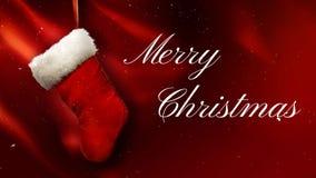 Media de la Feliz Navidad en lazo rojo del paño 4K libre illustration