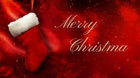 Media de la Feliz Navidad en rojo con el lazo de oro de las escamas 4K stock de ilustración