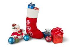 Media de la Navidad con los ornamentos y pequeño Fotos de archivo libres de regalías