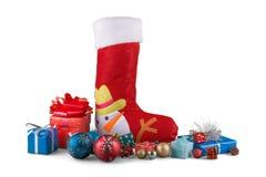 Media de la Navidad con los ornamentos y pequeño Foto de archivo