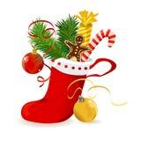 Media de la Navidad con los regalos en el fondo blanco Imagen de archivo