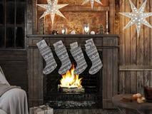 Media de la Navidad en fondo de la chimenea representación 3d Imágenes de archivo libres de regalías