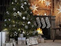 Media de la Navidad en fondo de la chimenea representación 3d Fotos de archivo