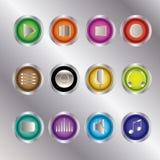 Media de reeks van het de knoop ui pictogram van de spelercontrole Stock Foto