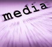 Media Definition Displays Social Media Or Multimedia. Media Definition Displaying Social Media Journalism Or Multimedia Stock Photo
