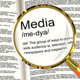 Media Definition Magnifier Showing Ways To Reach An Audience Stock Photography