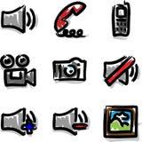 Media del contorno de la etiqueta de plástico de los iconos del Web del vector Fotografía de archivo