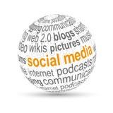 media del social de la bola 3D Fotos de archivo libres de regalías