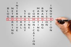 Media del sociale delle parole incrociate del testo del cerchio di scrittura della mano fotografia stock libera da diritti