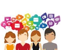 Media del sociale di discorso della bolla di chiacchierata del gruppo Immagine Stock