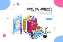 Media dell'enciclopedia ed uomo di lettura della biblioteca del libro per lo studio royalty illustrazione gratis