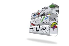 Media device brainstorm on abstract screen Royalty Free Stock Photo