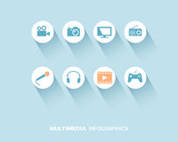 Media device infographic with flat icons set Royalty Free Stock Photos