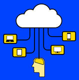 Media devices in the cloud Stock Image