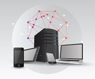 Media devices with server tower and angular design Stock Photos