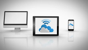 Media devices showing cloud computing graphic with wifi symbol stock video footage