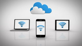 Media devices showing wifi symbol under clouds stock footage
