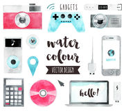 Media Devices Watercolor Vector Objects Stock Images