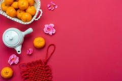 Media di lingua cinese ricca o ricca e felice Nuovo anno lunare di vista del piano d'appoggio & fondo cinese di concetto del nuov fotografia stock libera da diritti