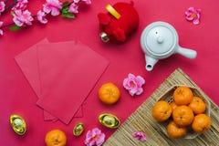 Media di lingua cinese ricca o ricca e felice Nuovo anno lunare di vista del piano d'appoggio & fondo cinese di concetto del nuov immagini stock libere da diritti