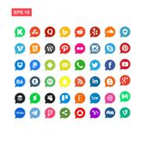 48 media di Sosial ed il vettore dell'icona della rete hanno isolato illustrazione di stock