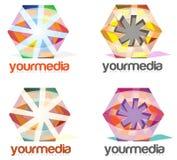 Media die Bedrijf Abstract Embleem adverteren Stock Foto's