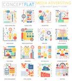 Media die van het Infographics de miniconcept pictogrammen en digitale marketing voor Web adverteren De kleuren conceptuele vlakt Royalty-vrije Stock Afbeeldingen