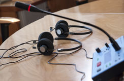 Media die voor audioconferentie worden geplaatst stock afbeelding