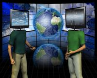 Media discussion. Men`s figures with TV - screens instead of head Stock Images