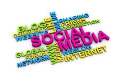 media do social 3d Imagens de Stock