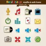 Media e ícones desenhados mão do Web do entretenimento Foto de Stock