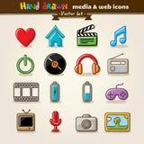 Media e ícones desenhados mão do Web do entretenimento Fotografia de Stock