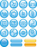 Media e icono de las comunicaciones fijado (vector) Imágenes de archivo libres de regalías