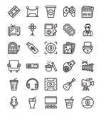Media e iconos de la hospitalidad ilustración del vector