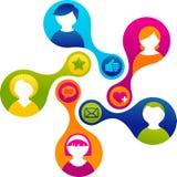 Media e ilustración sociales de la red imagenes de archivo