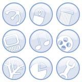 Media ed icone del calcolatore Illustrazione di Stock