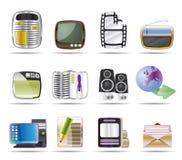 Media ed icone di informazioni Immagini Stock