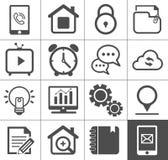 Media ed insieme dell'icona del profilo di comunicazione Fotografia Stock Libera da Diritti