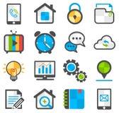 Media ed insieme piano dell'icona di comunicazione Fotografie Stock