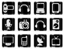 Media eenvoudig pictogrammen Royalty-vrije Stock Foto's