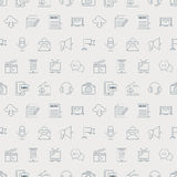 Media electronic line icon pattern set Stock Photography