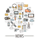 Media Elements for News Collection and Translation Stock Image