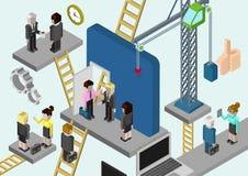 Media en ligne des affaires 3d de société isométrique plate de bâtiment Photographie stock libre de droits
