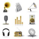 Media en muziekpictogrammen Stock Afbeeldingen