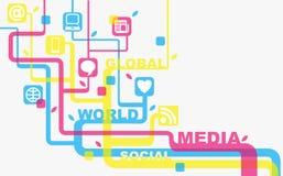 Media en sociale achtergrond Stock Afbeeldingen