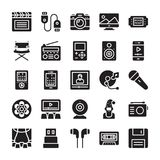 Media and Entertainment Glyph Icons vector illustration
