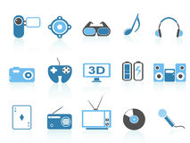 Media entertainment icons ,blue series Stock Photos