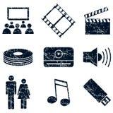 Media entertainment icons set, grunge Stock Images